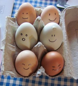 Carton of eggs with faces on them - antibiotics in food - what you need to know - media dietitian Christy Brissette 80 Twenty Nutrition