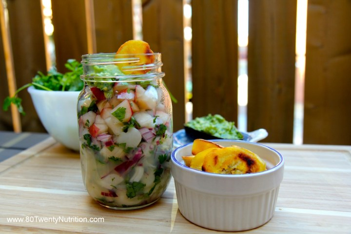 Scallop Ceviche with Peach Salsa, Whipped Avocado and Plantain Chips - healthy Mexican food - Christy Brissette media dietitian - 80 Twenty Nutrition