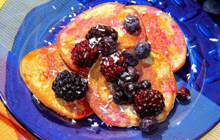 2 Ingredient Protein Pancakes - gluten free, paleo, no added sugar and oh so delicious! Recipe by Christy Brissette, media dietitian, 80 Twenty Nutrition