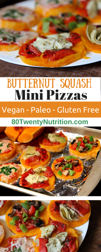 Easy Paleo Pizza Crust - Butternut Squash Mini Pizzas - gluten free, vegan, pegan, grain free - Christy Brissette registered dietitian nutritionist in the media - 80 Twenty Nutrition
