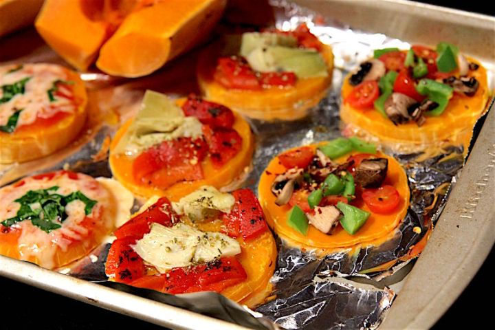 Easy Paleo Pizza Crust - Butternut Squash Mini Pizzas - gluten free, vegan, pegan, grain free - Christy Brissette registered dietitian nutritionist in the media - 80 Twenty Nutrition