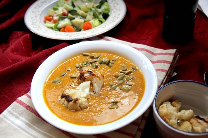 Cauliflower Celery Root Soup with Chickpeas and Turmeric - Vegan and Gluten-Free! - Christy Brissette media registered dietitian nutritionist - 80 Twenty Nutrition