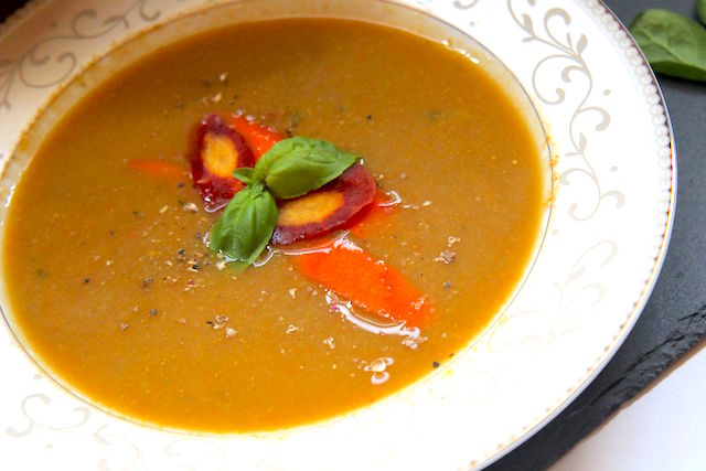 Heirloom Carrot Soup with Peanut Butter and Basil - vegan and gluten-free - Christy Brissette, media and registered dietitian nutritionist - 80 Twenty Nutrition