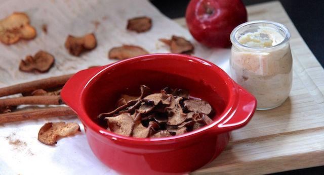 Cinnamon Apple Chips with Honey Nut Dip - healthy snack vegan gluten-free paleo low calorie - recipe by Christy Brissette media registered dietitian nutritionist 80 Twenty Nutrition