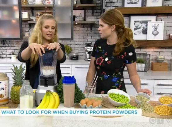 How to Choose the Best and Healthiest Protein Powder - Christy Brissette media registered dietitian nutritionist on national TV: CTV Your Morning Live - What to Look for When Buying Protein Powders - 80 Twenty Nutrition communications