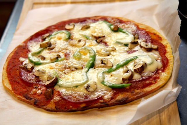 Best Keto Pizza - Gluten-Free, Low Carb and Protein-Packed! with Green Peppers, Mushrooms and Pepperoni - recipe by Christy Brissette, media registered dietitian nutritionist in Toronto, 80 Twenty Nutrition