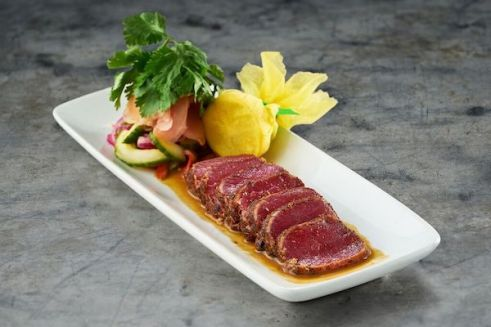 Ruth's Chris Steak House Lighter Recommendations Menu ahi tuna appetizer - how to eat healthier and low calorie at a steakhouse - Christy Brissette media registered dietitian nutritionist 80 Twenty Nutrition