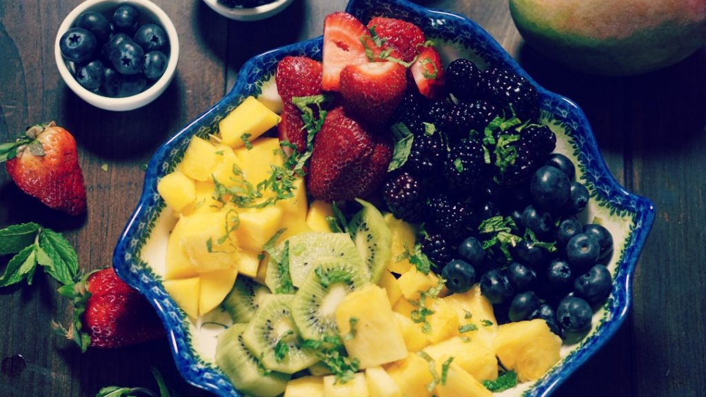 Tropical berry fruit salad