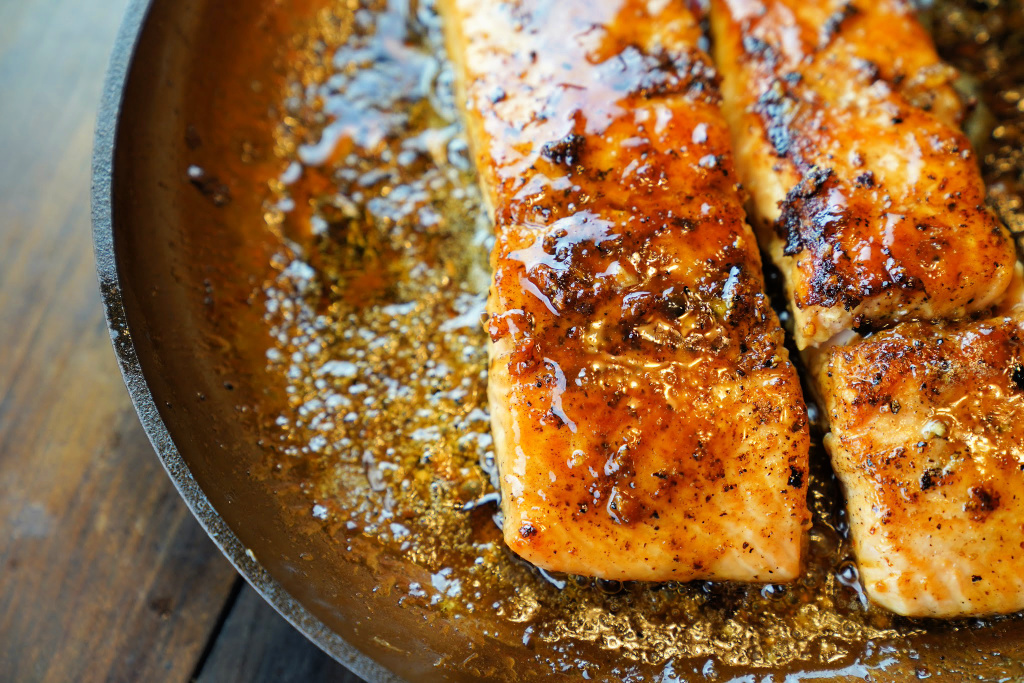 Maple Ginger and Garlic Salmon in skillet