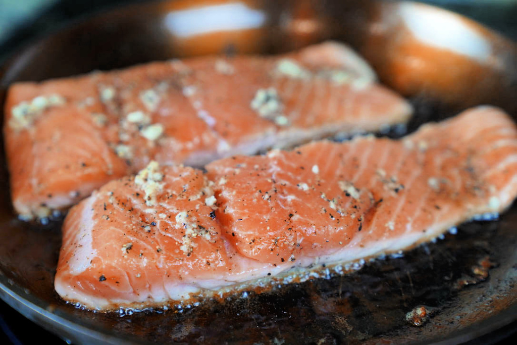 Maple Ginger and Garlic Salmon recipe. seared salmon fillet none side