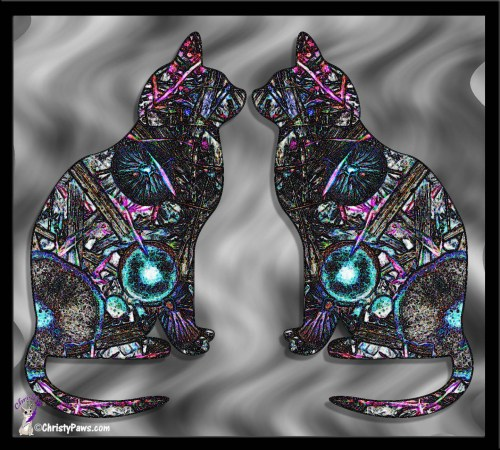 Two cats on marbled glass using shape tool in Photoshop