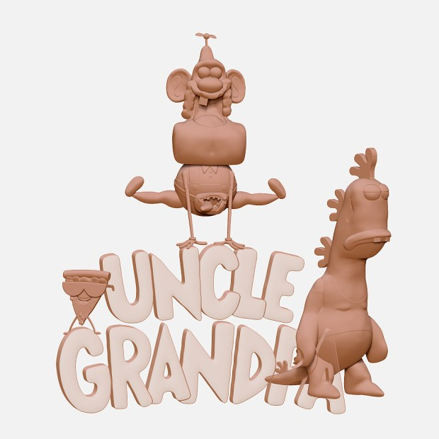 uncle grandpa digital sculpture statue clear text