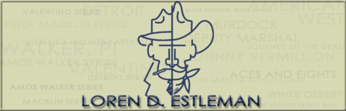 Estleman's webpage banner reflects his mystery and western writing (WildmooBooks.com)