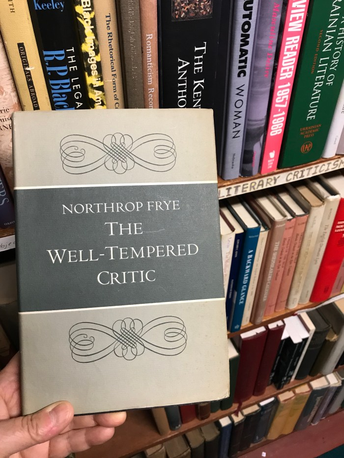 Northrop Frye, The Well-Tempered Critic, first edition (WildmooBooks.com)