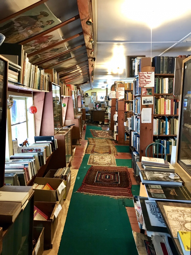 Inside Whitlock's Book Barn, lower barn, January 2018 (WildmooBooks.com)