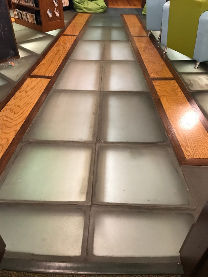 Glass floor above the circulation area at The Handley Library in Winchester, VA
