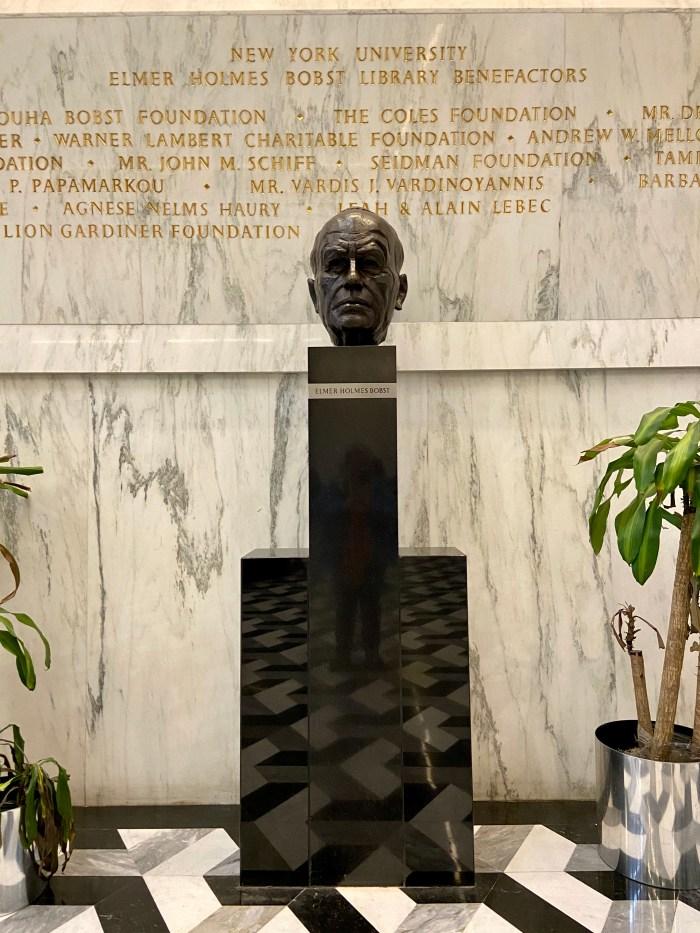 NYU Elmer Holmes Bobst Library statue of Bobst (chriswolak.com)