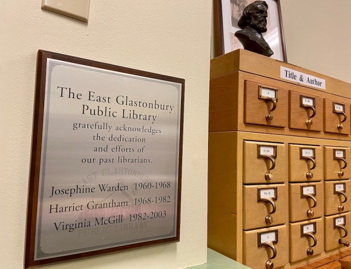 East Glastonbury Library Librarian Appreciation Plaque and Card Catalog
