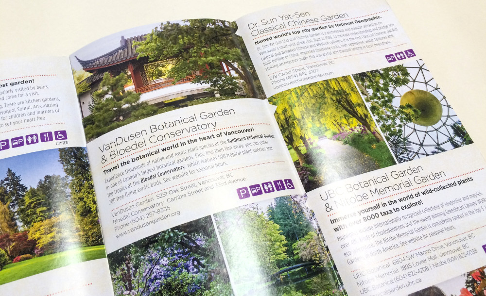 'Follow the Garden Trail' feature layout following spread featuring Lower Mainland gardens.