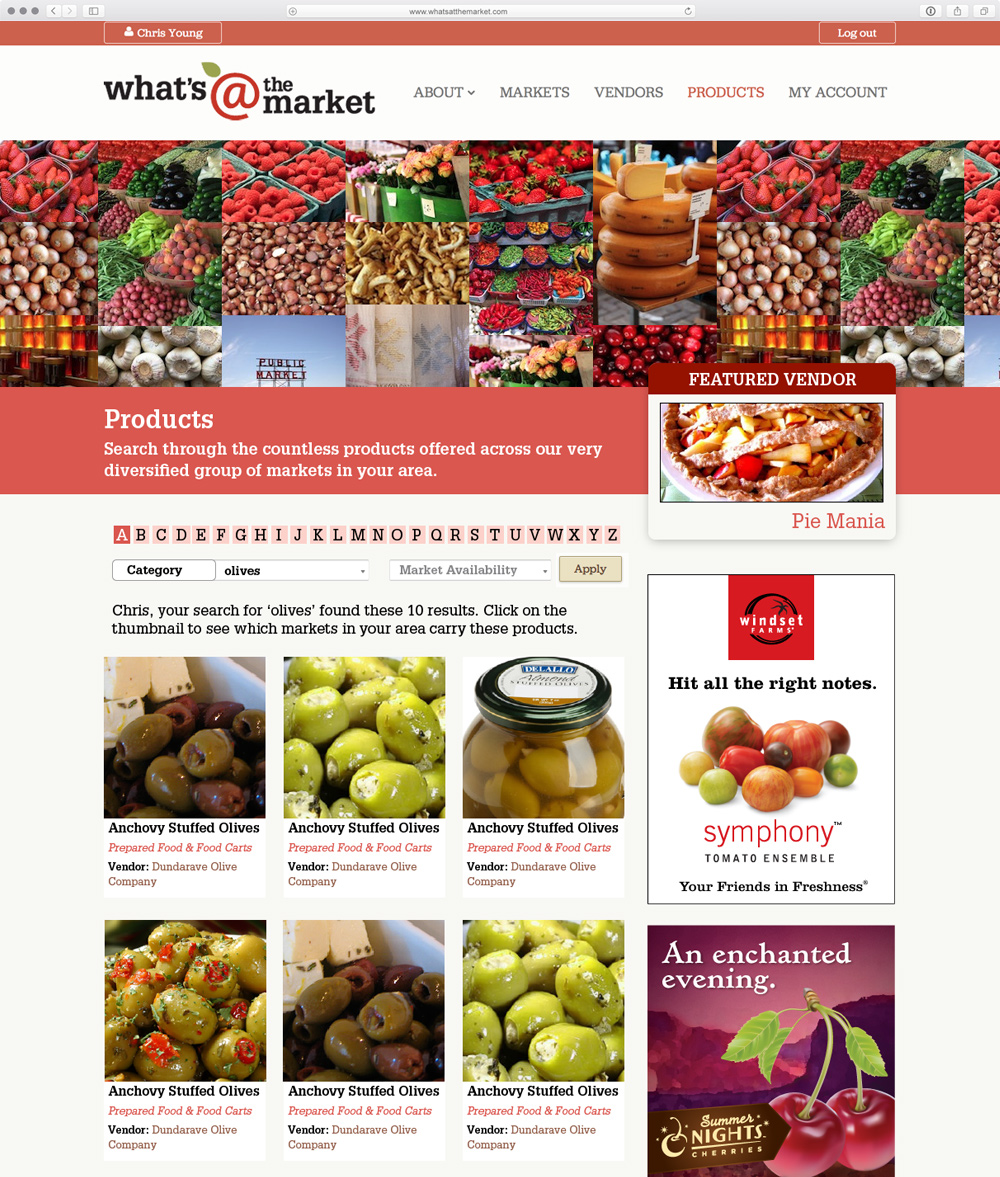 In this example, the user has searched for 'olives', and is presented with a customized search results letting them know how many different products were found, and the visual feedback allows users to scan over the results quickly.