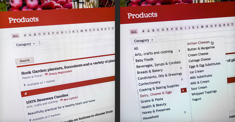 Details of the search by category in the Products section helps users refine what they're looking for.