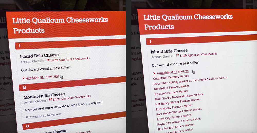 Detail of which markets Little Qualicum Cheeseworks will be at.