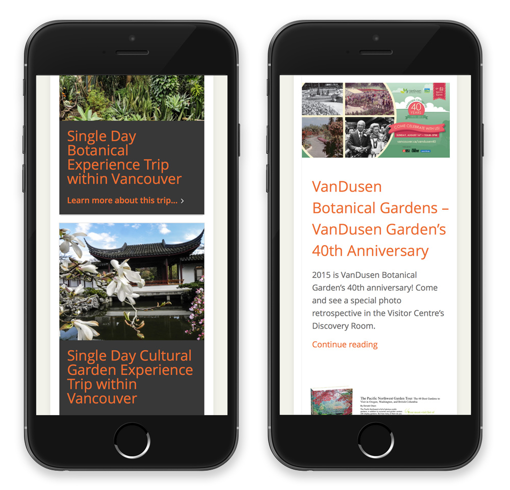 Explore Page trips and Garden news as it appears on an iPhone.