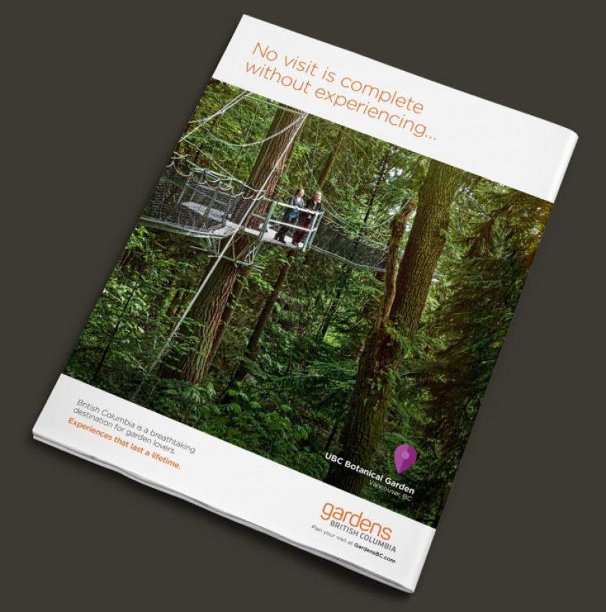 Magazine Ad featuring UBC Botanical Garden's canopy walkway experience.