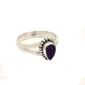 Δαχτυλίδι ασήμι 925° με Αμέθυστο σε σχήμα σταγόνας