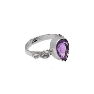 Δαχτυλίδι ασήμι 925° με Αμέθυστο σε σχήμα σταγόνας με σκάλισμα
