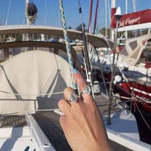 Δαχτυλίδι ασήμι 925° με Aqua marine σε ακανόνιστο σχήμα