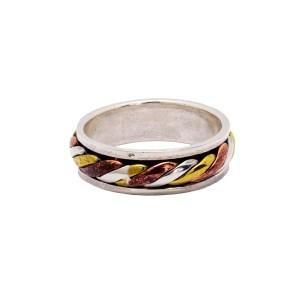 Δαχτυλίδι ασήμι 925° με σκάλισμα τρίχρωμο