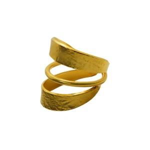 Δαχτυλίδι σφυρήλατο με τριπλό εφέ από Επιχρυσωμένο & Επιροδιωμένο Μπρούντζο