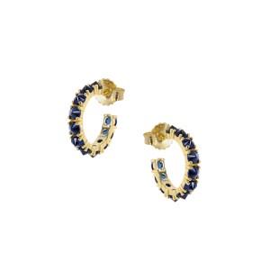 Σκουλαρίκια από Ασήμι 925° Επιχρυσωμένο με Μπλε Ημιπολύτιμες Πέτρες (ζιργκόν)