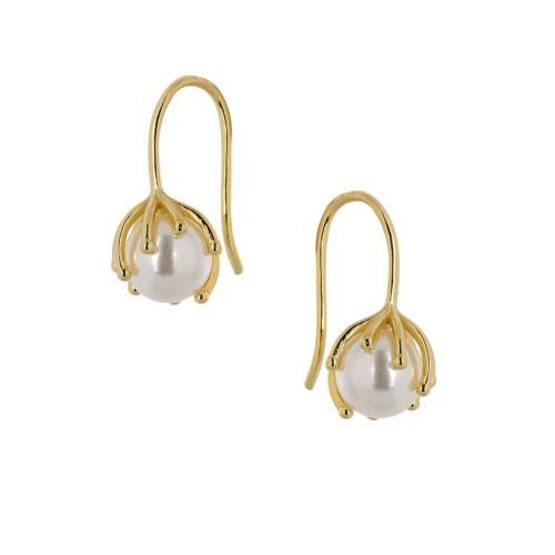 Σκουλαρίκια από Ασήμι 925° Επιχρυσωμένα Κρεμαστά με Πέρλα Στρογγυλή