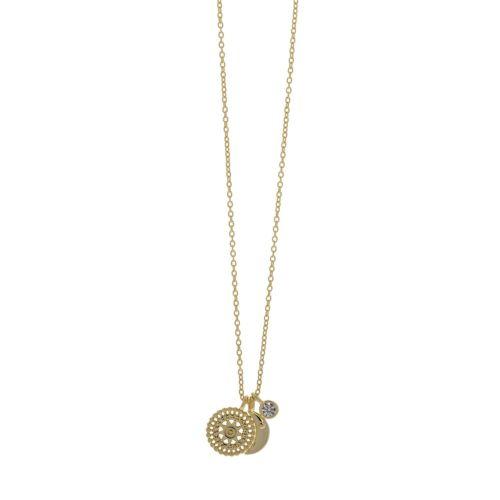 Κολιέ από Ασήμι 925° Επιχρυσωμένο με Μισοφέγγαρο & Ήλιο με Kρεμαστή Πέτρα Ζιργκόν