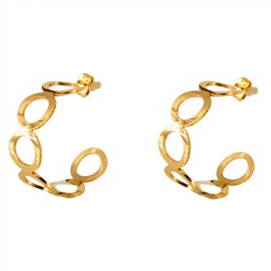Σκουλαρίκια Kρίκοι σε Χρυσό Χρώμα από Ανοξείδωτο Ατσάλι με Κύκλους Δ3ΕΚ