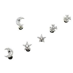 Σκουλαρίκια Καρφωτά Σετ των 3 σε Ασημί Χρώμα από Ανοξείδωτο Ατσάλι με Αστέρι, Μισοφέγγαρο & Σταυρό