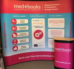 Curved pop up stand design and print by Chromatics. Large format printers in Sussex.