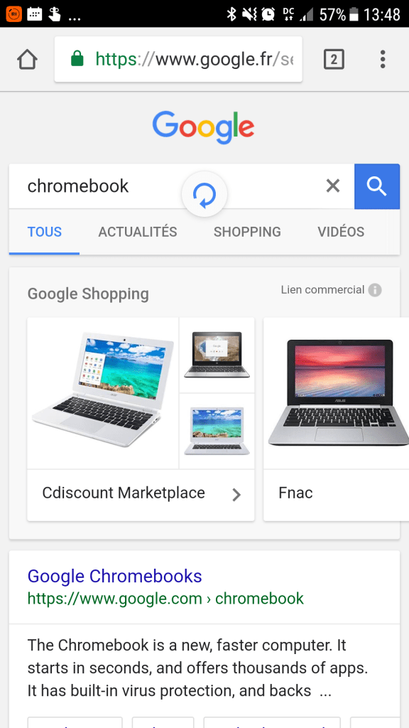 Le Pull to Refresh en préparation sur Chrome