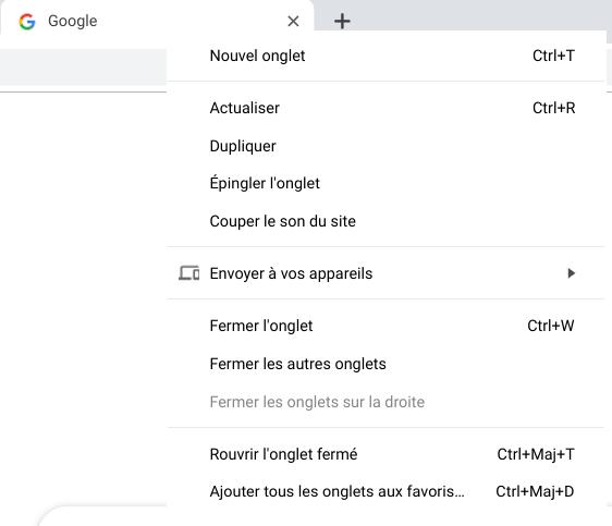 Chrome - Envoi de l'onglet vers un autre appareil