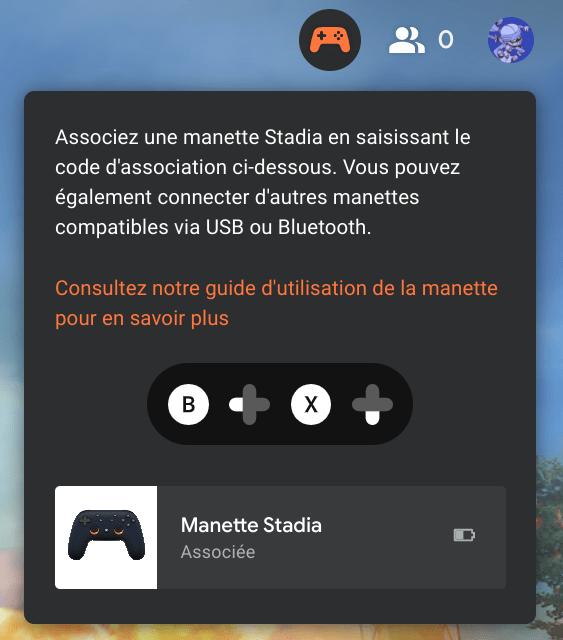 Stadia : associer la manette au navigateur web pour jouer sans fil