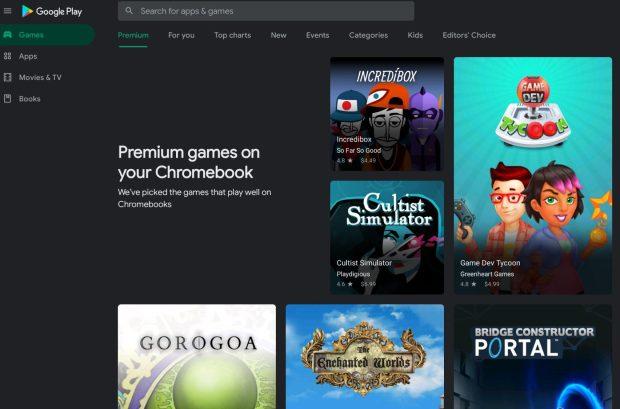 Google Play Store : des jeux Premium compatibles Chromebook !