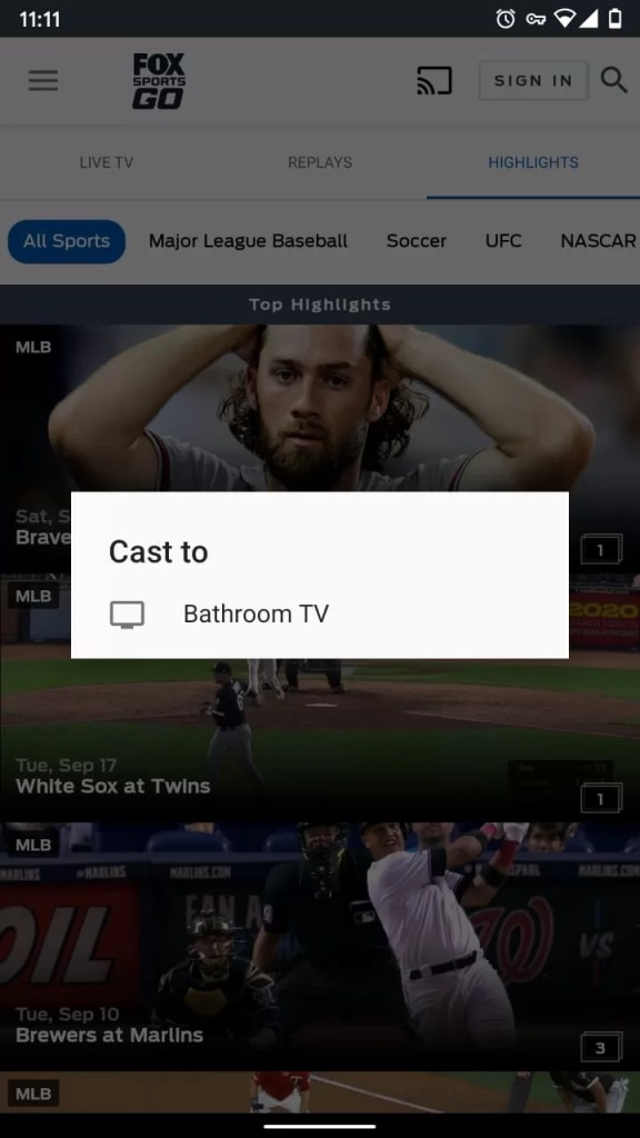 How to Chromecast Fox Sports Go to TV?