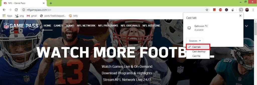NFL Game Pass on Chromecast