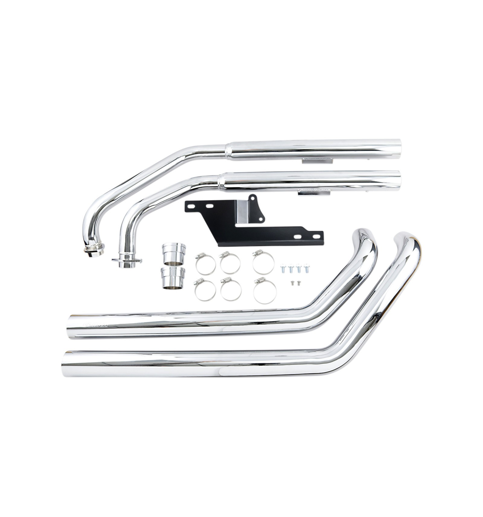 kawasaki vn900 cobra exhaust system dragster 2 into 2 straight cut chrome