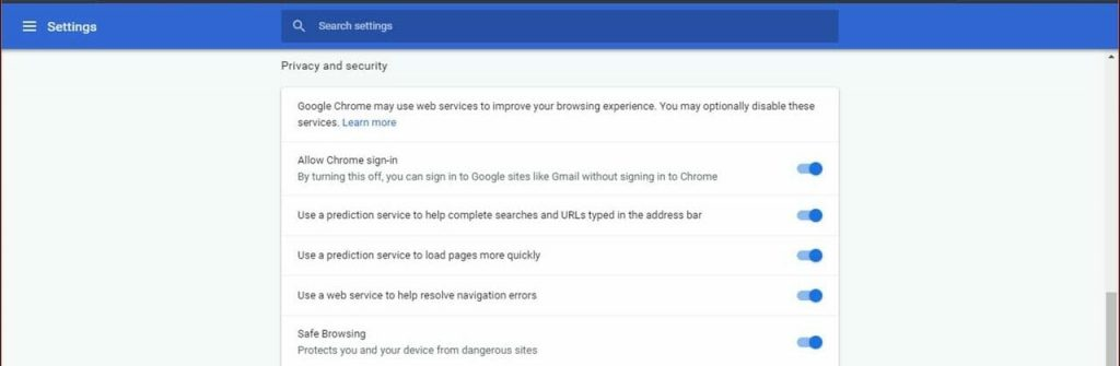 Chrome settings in browser