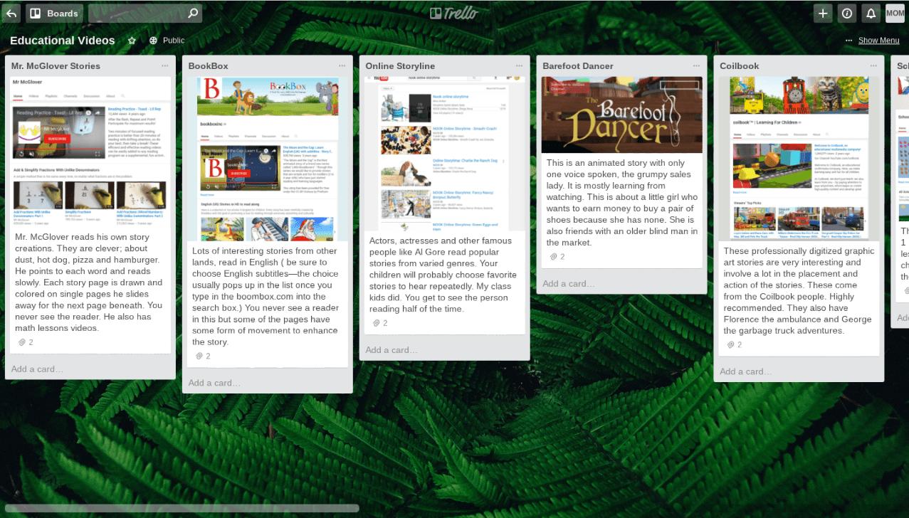 Trello Lesson Planning Screenshot