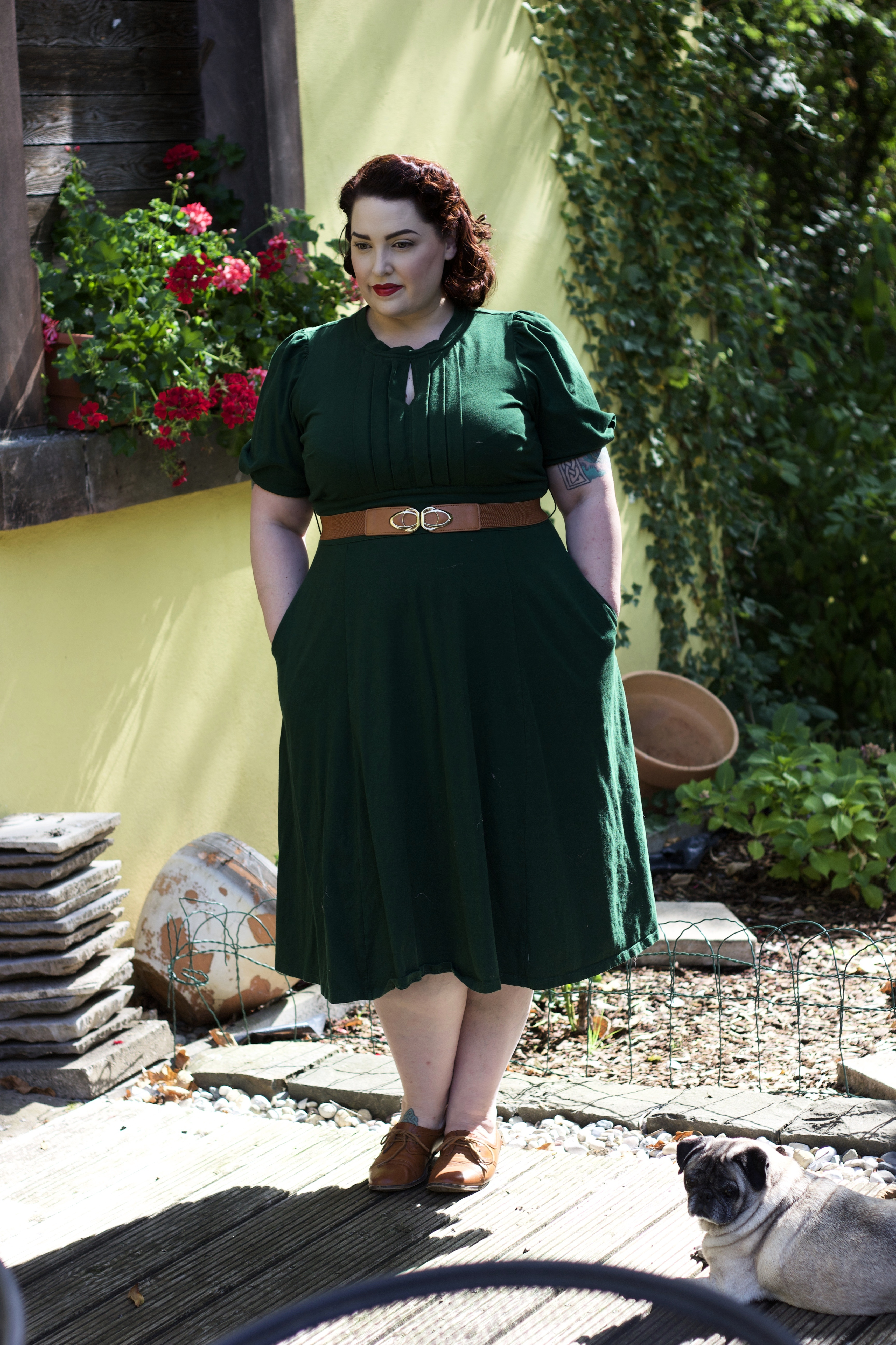 Vintage Style Woman in Green Dress
