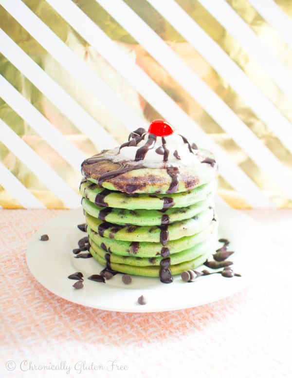Vegan Chocolate Chip Mint Pancakes - Gluten Free & Dairy Free - Chronically Gluten Free